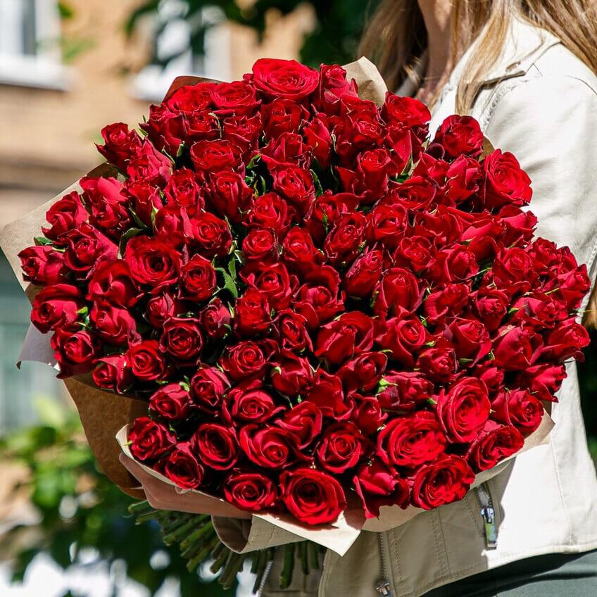 101 красная роза 40 см