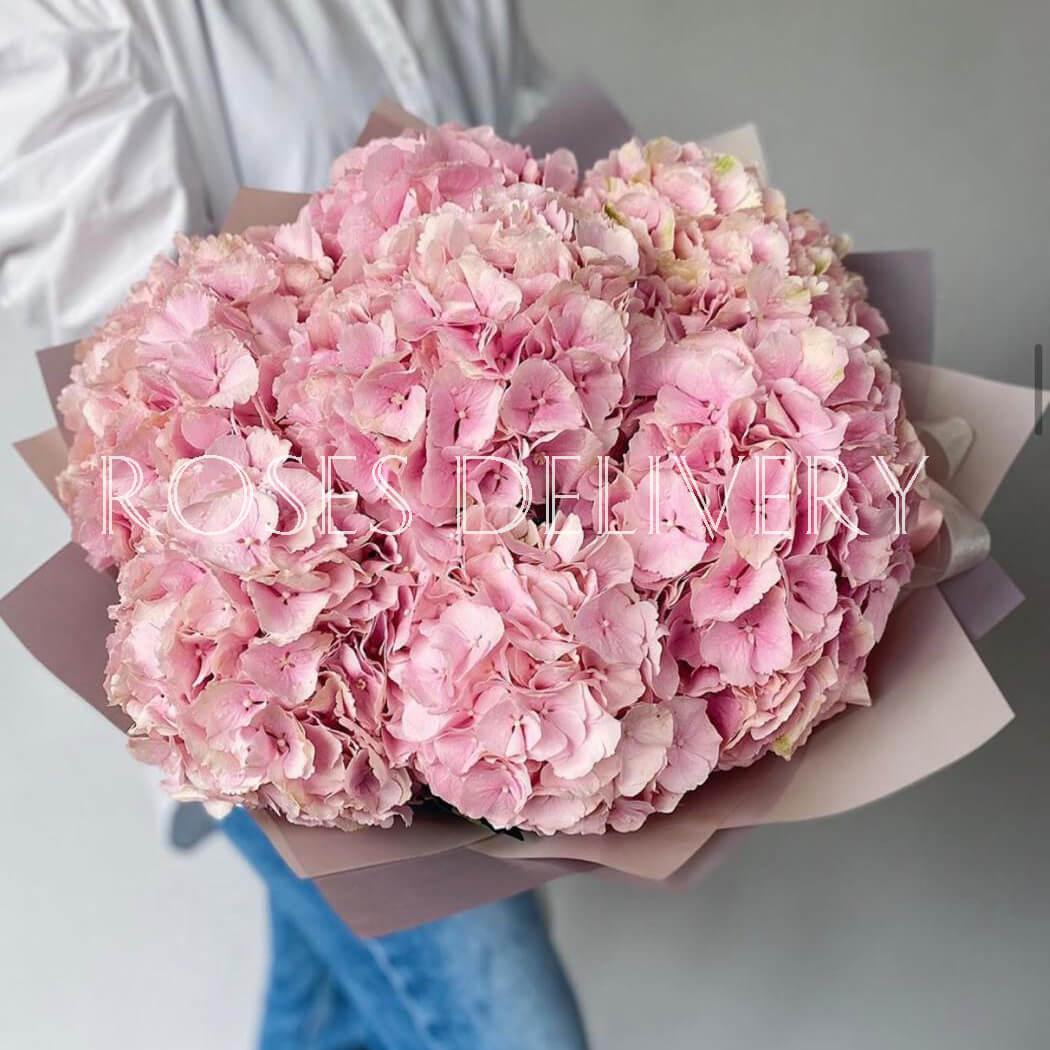 Букет 9 «Розовых Гортензий» Pink 55см