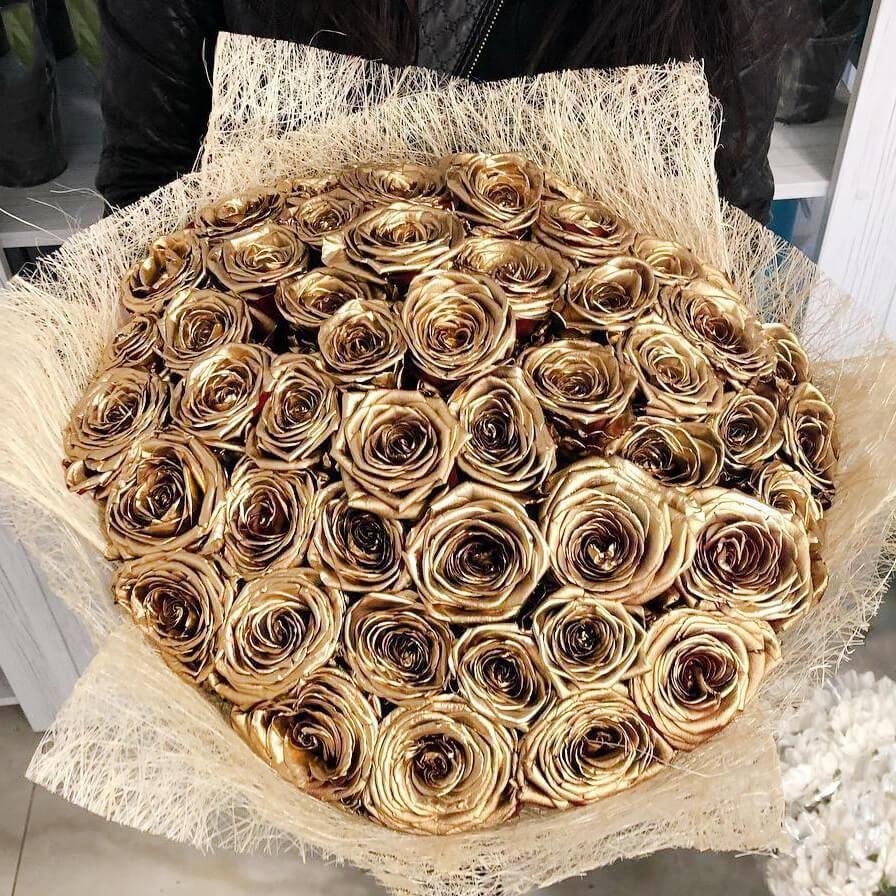 Букет 35 «Золотых Роз» Sezal 60см