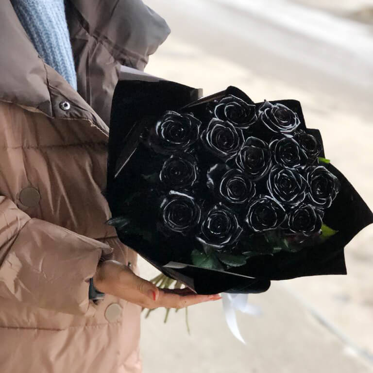 Букет 15 «Черных Роз» Black 60см