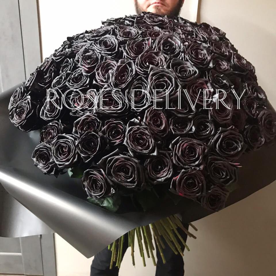 Букет 101 «Черная Роза» Black 60см
