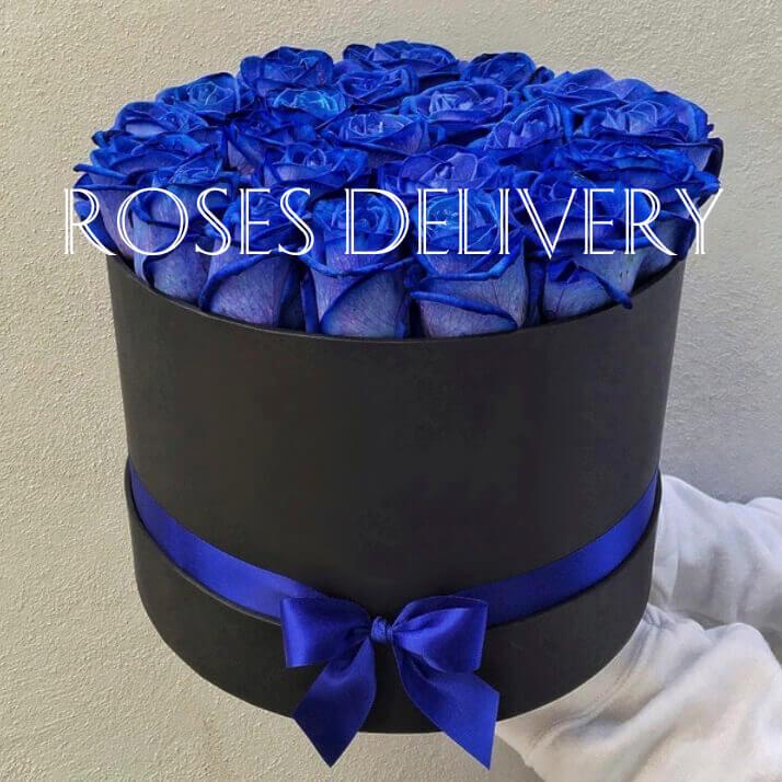Коробка 25 «Синих Роз» Black