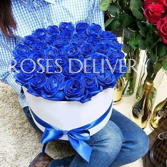 Коробка 45 «Синих Роз» White