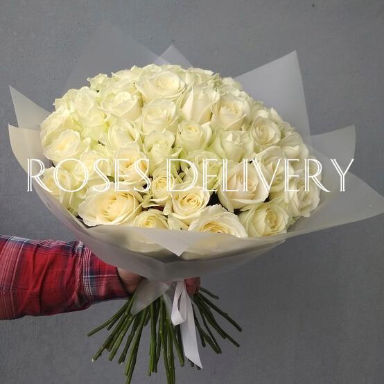 Букет 35 «Белых Роз» 60см