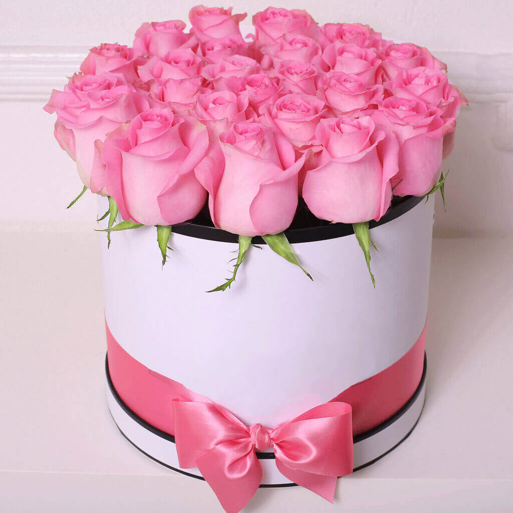 Коробка 15 «Розовых Роз» White
