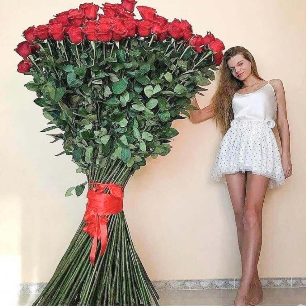 Букет 201 высокой розы 180 см