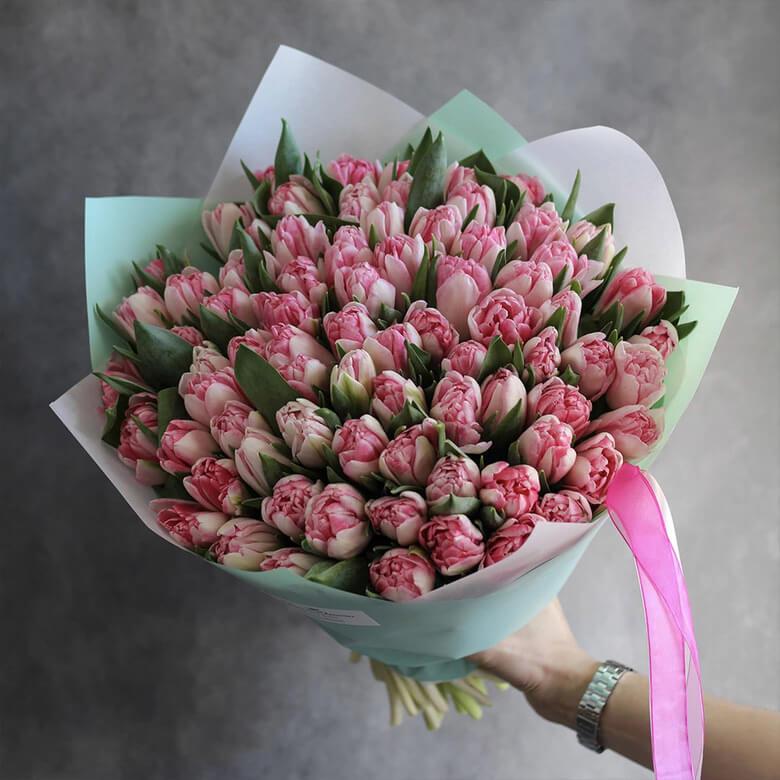 Букет 49 «Розовых Тюльпанов» Tiffany