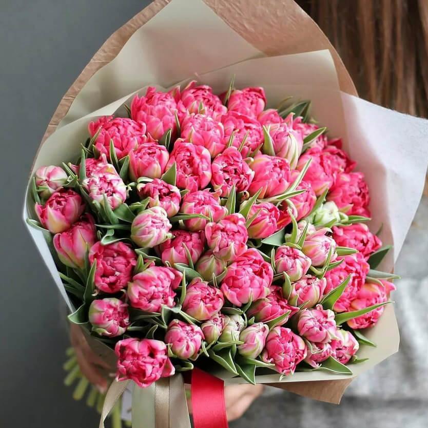Букет 49 «Розовых Тюльпанов» Pink