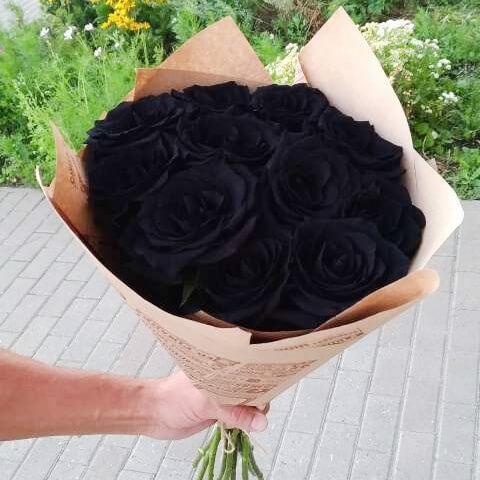 Букет 9 «Черных Роз» Kraft 60см