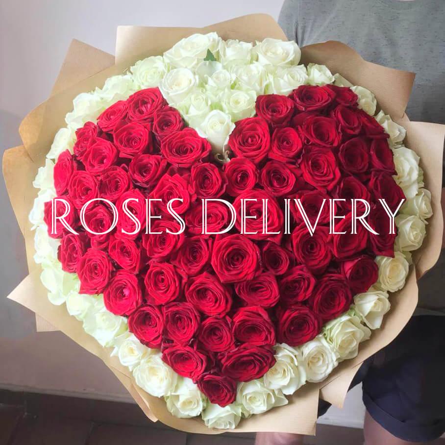 Букет 101 «Красная Роза Сердце» 55см