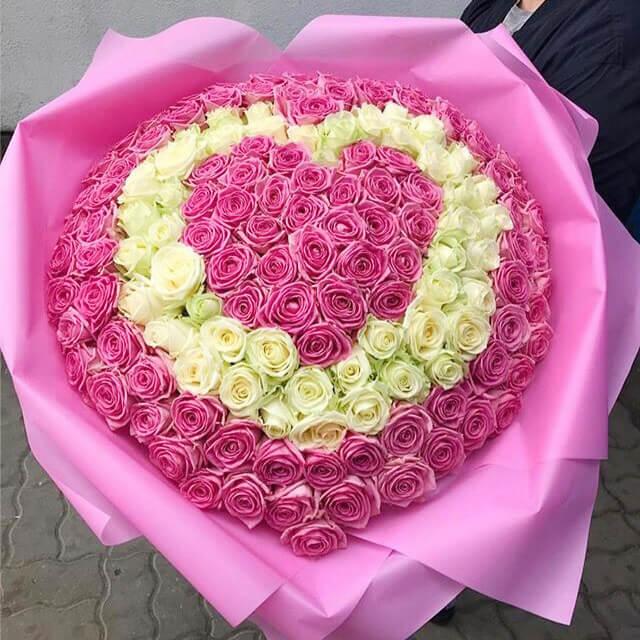 Букет 101 «Розовая Роза Сердце» 60см